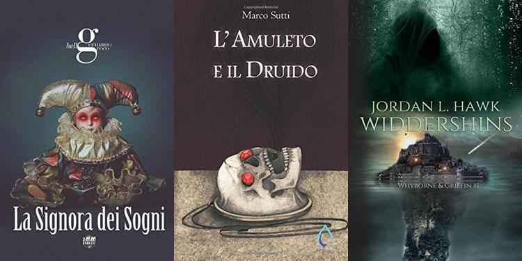 Le copertine de La Signora dei Sogni, L'Amuleto e il Druido e Widdershins