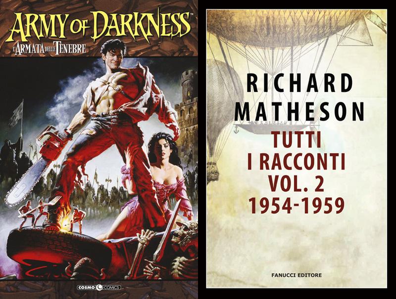 Le copertine dei libri horror L'armata delle tenebre e Tutti i racconti