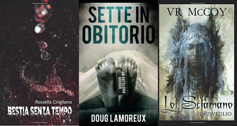 Le copertine dei libri Bestia senza tempo, Sette in obitorio e Lo Sciamano: Il Risveglio
