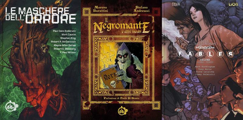 Le copertine dei libri horror Le maschere dell'orrore, Il negromante e altri incubi e Fables deluxe: 3